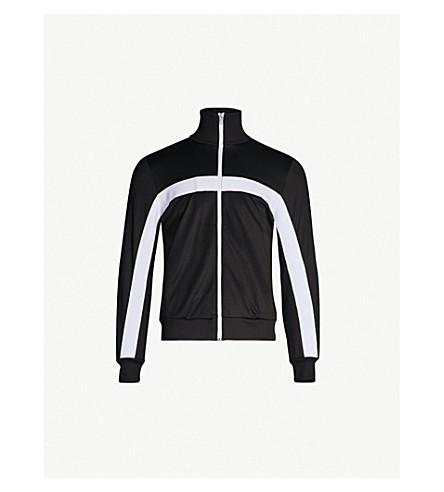 SANDRO 条纹细节缎布运动夹克 (黑色