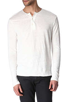 SANDRO Henley silk-trimmed top