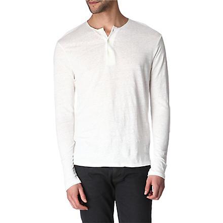 SANDRO Henley silk-trimmed top (Ecru