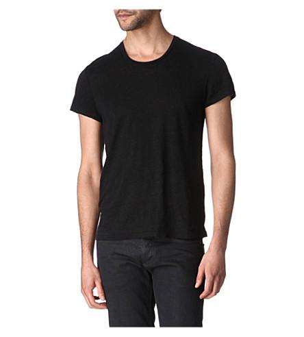 SANDRO Clash linen t-shirt (Black