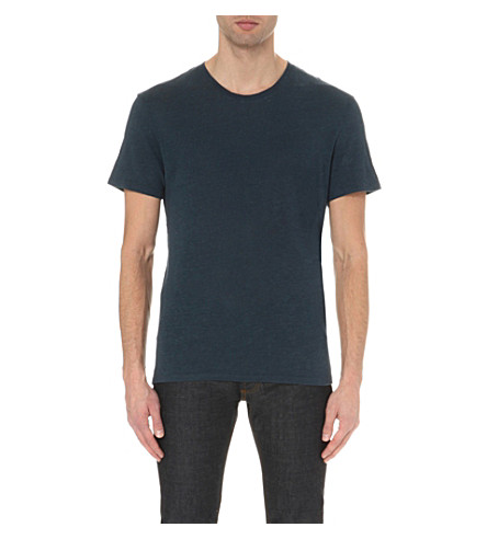 SANDRO Crewneck linen T-shirt (Blue+grey