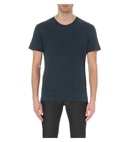 SANDRO Crewneck linen T-shirt (Blue+grey