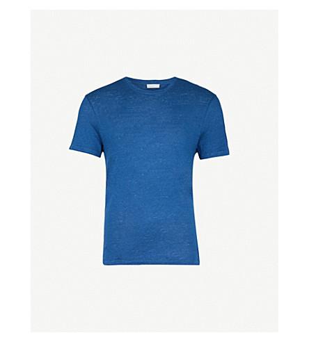 SANDRO Crewneck linen-jersey T-shirt (Blue