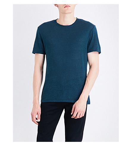 SANDRO Crewneck linen T-shirt (Green