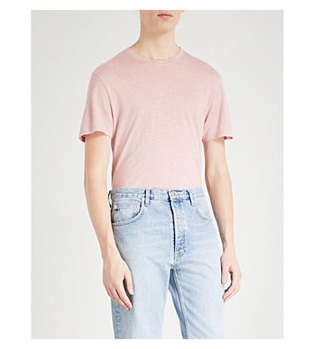 punto Crewneck SANDRO camiseta rosa claro de lino g6qIwrq8
