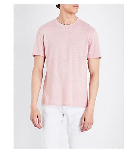 SANDRO Crewneck linen T-shirt (Pink