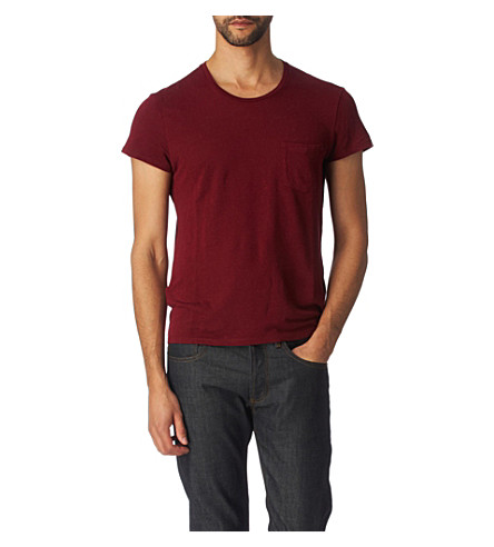SANDRO Sears linen t-shirt (Burgundy