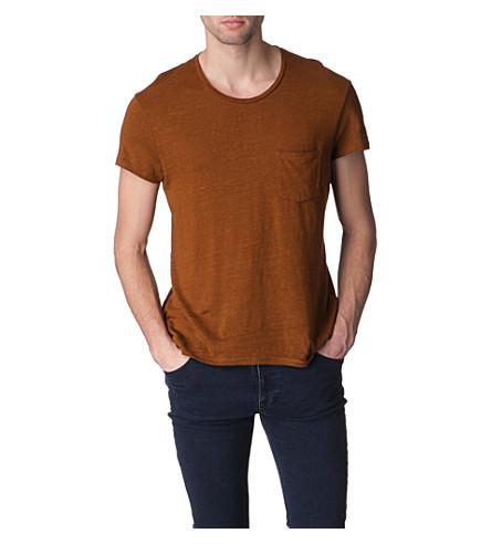 SANDRO Sears linen t-shirt (Mustard