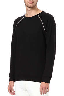 SANDRO Gun zip-shoulder sweatshirt