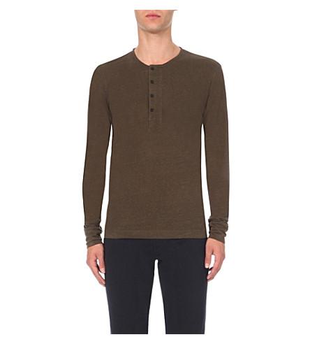 SANDRO Button-detail linen-jersey top (Khaki