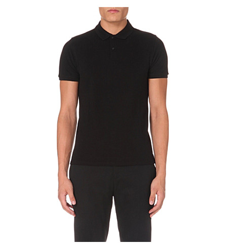 SANDRO Slim-fit cotton-piqué polo shirt (Black