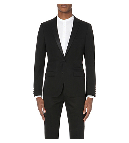 SANDRO Single-breasted wool-blend jacket (Black