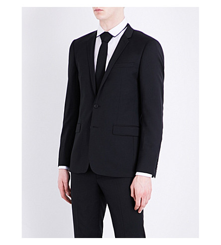 SANDRO Negro solapa con ajuste de Chaqueta de de muesca lana pura rq7arnvxz
