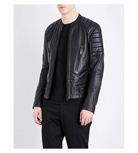 SANDRO Stand collar leather jacket (Black