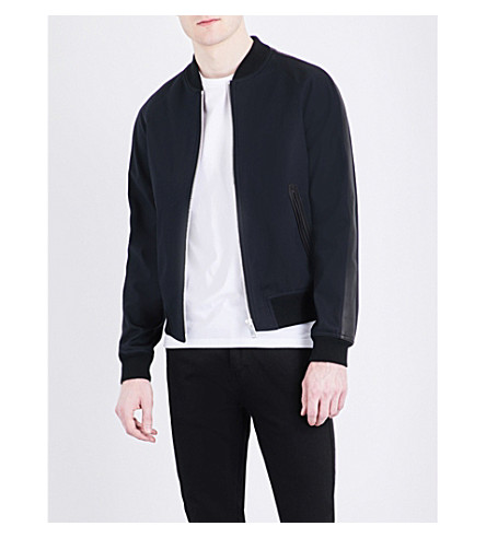 SANDRO Leather-trim cotton-gabardine bomber jacket (Navy+blue