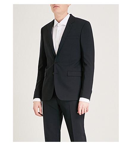 SANDRO Slim-fit wool-blend jacket (Navy+blue