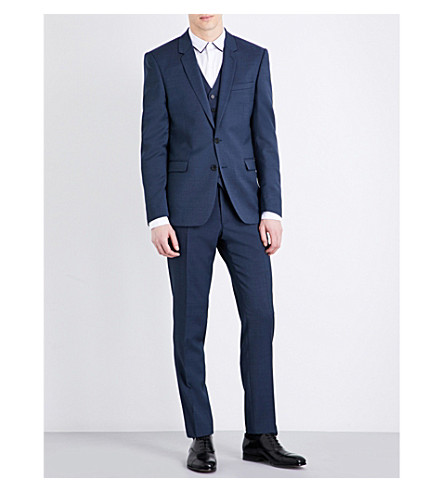 SANDRO Tailored-fit notch-lapel pure-wool jacket (Blue