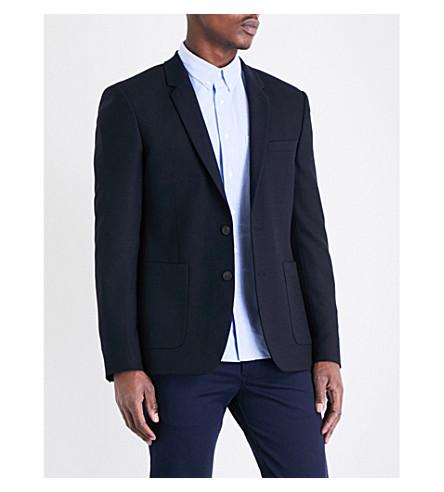 SANDRO Regular-fit notch lapel wool-blend jacket (Navy+blue