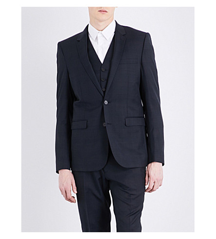 SANDRO Prince of Wales check-print tailored-fit wool jacket (Navy+blue