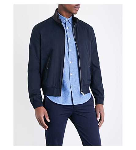SANDRO Leather-collar bomber jacket (Navy+blue