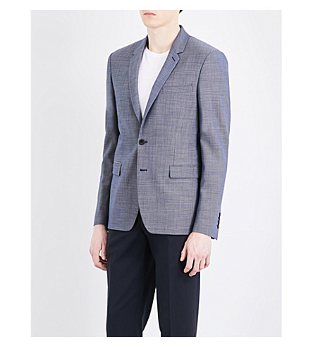 SANDRO Tailored-fit wool blazer (Blue