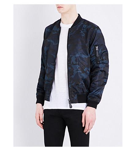 SANDRO Camouflage-print shell bomber jacket (Navy+blue