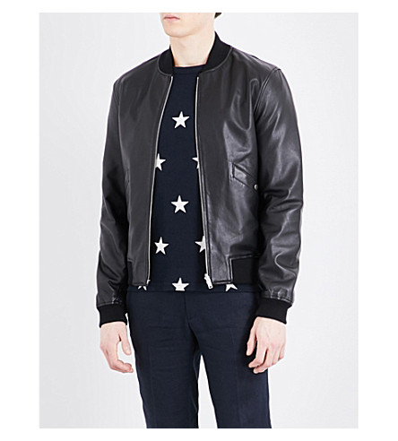 SANDRO Reversible leather bomber jacket (Black