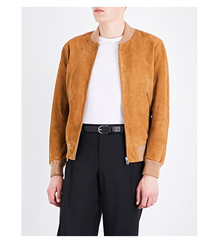 SANDRO Stand collar suede bomber jacket (Beige