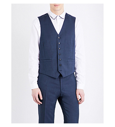 SANDRO V-neck pure-wool waistcoat (Blue