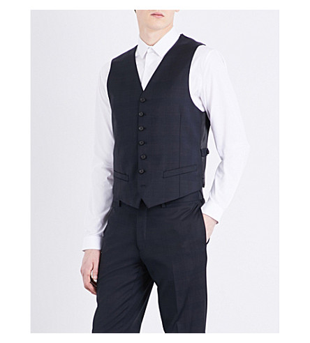 SANDRO Prince of Wales check-print wool waistcoat (Navy+blue
