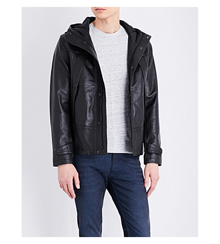 SANDRO Hooded leather jacket (Black