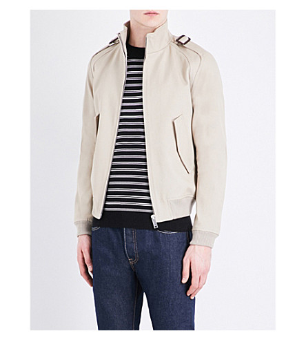 SANDRO Stand collar cotton jacket (Beige