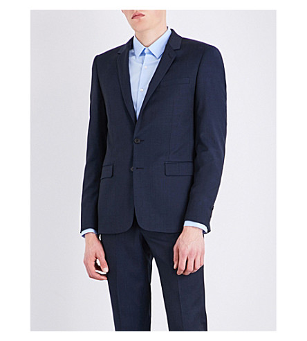SANDRO Slim-fit wool jacket (Midnight+blue