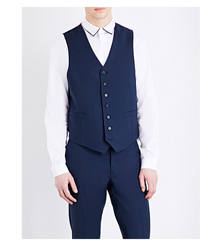 SANDRO V-neck wool and mohair-blend waistcoat (Blue