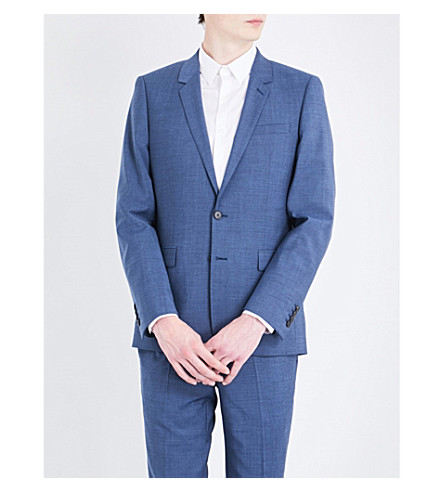 SANDRO Slim-fit wool, mohair and silk-blend jacket (Light+blue