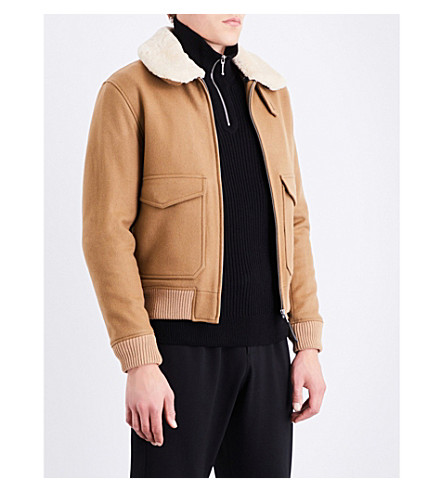 SANDRO Shearling collar wool-blend jacket (Camel
