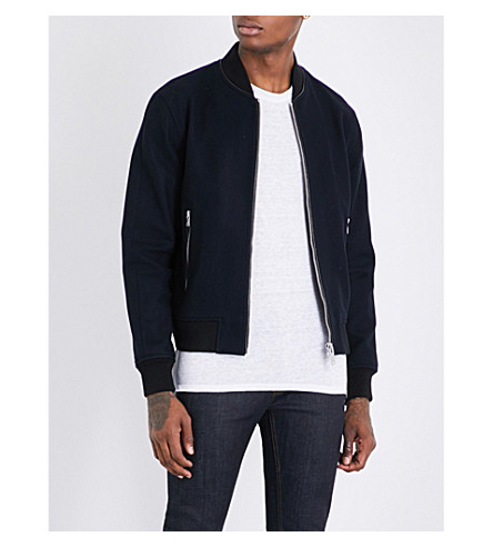 SANDRO Textured wool-blend bomber jacket (Navy+blue