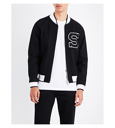 SANDRO Embroidered letter wool-blend bomber jacket (Black