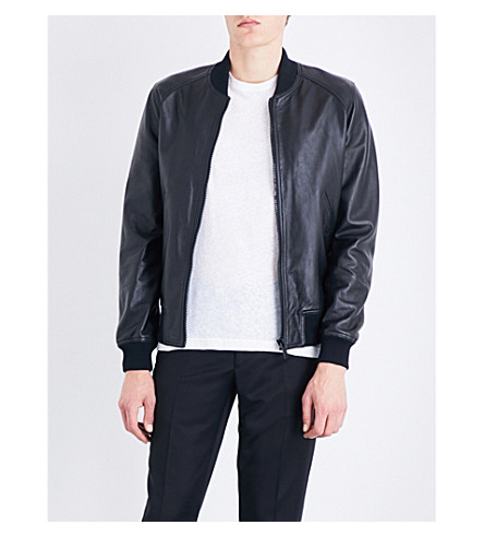 SANDRO Stand-collar leather bomber jacket (Black