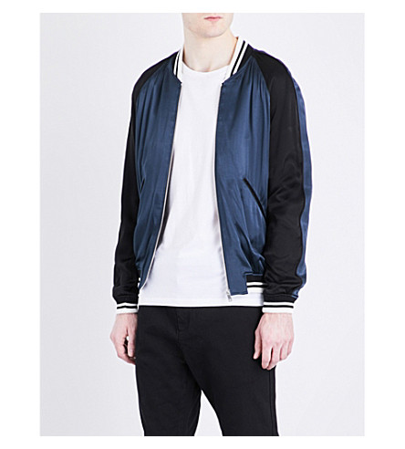 SANDRO Striped-trim satin bomber jacket (Navy+blue