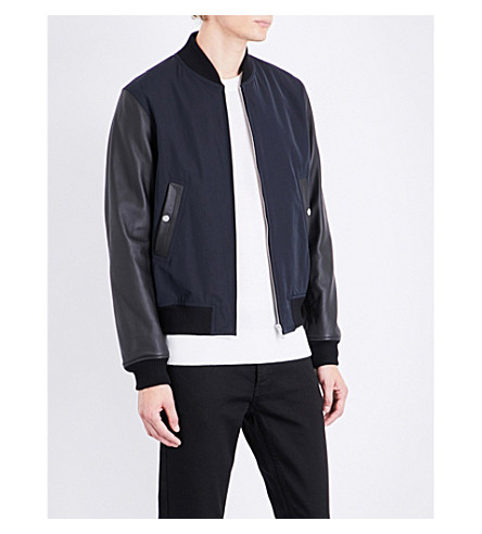 SANDRO Yankee leather-sleeve bomber jacket (Navy+blue