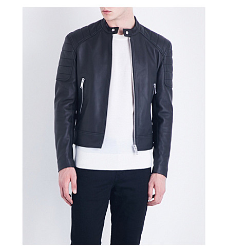 SANDRO Stand-collar leather jacket (Noir