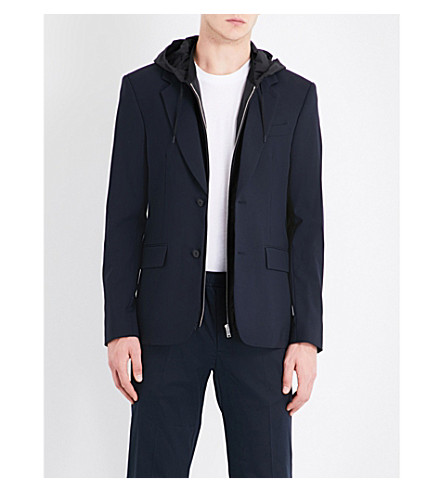 SANDRO Hooded wool-blend jacket (Navy+blue