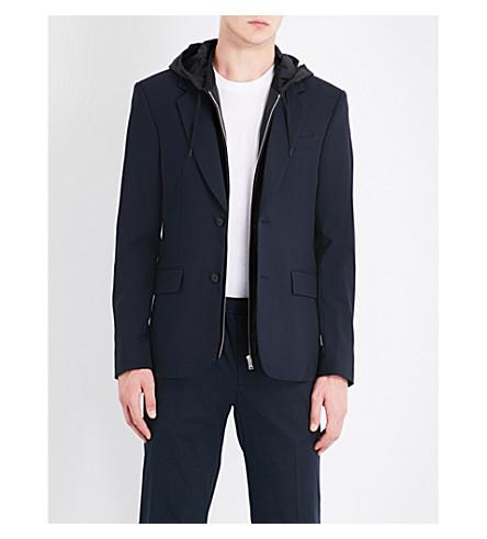 SANDRO 帽羊毛混纺夹克 (海军 + 蓝色