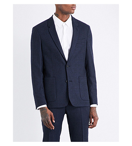 SANDRO Regular-fit single-breasted brushed-wool jacket (Bluish+grey