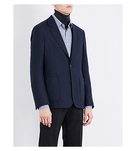 SANDRO Slim-fit single-breasted woven blazer (Navy+blue