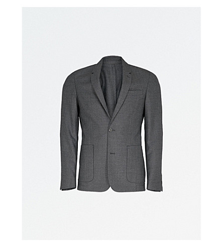 SANDRO Checked slim-fit wool jacket (Grey