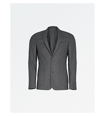 SANDRO 方格修身版型羊毛夹克 (灰色