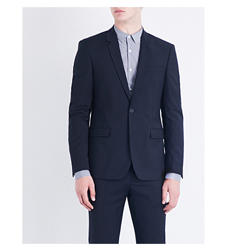 SANDRO Slim-fit wool jacket (Navy+blue