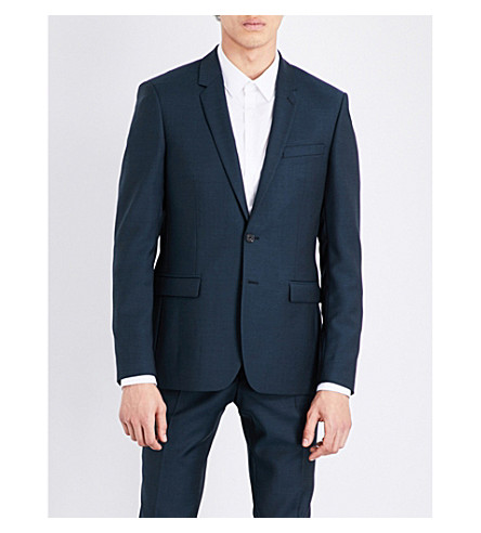 SANDRO Slim-fit wool and mohair-blend jacket (Peacock+blue